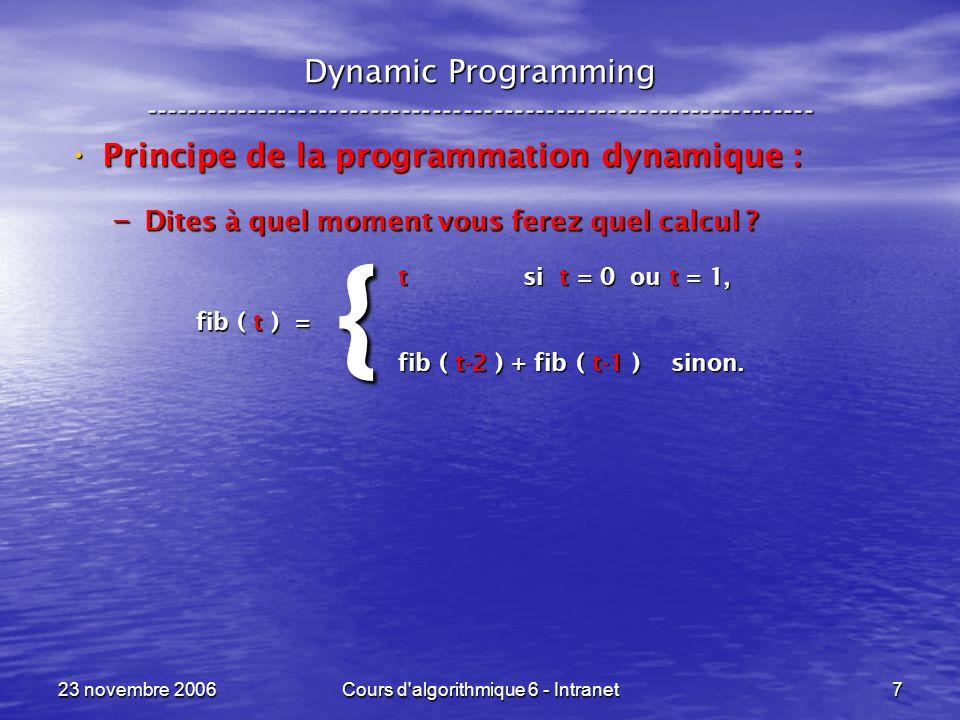 23 novembre 2006Cours d algorithmique 6 - Intranet78 Sac à dos --- Knapsack ----------------------------------------------------------------- {for ( R = 0 ; R <= C ; R++ ) Opt[ 0, R ] = 0 ; for ( t = 1 ; t <= n ; t++ ) for ( R = 0 ; R <= C ; R++ ) if ( p[ t ] > R ) Opt[ t, R ] = Opt[ t-1, R ] ; else Opt[ t, R ] = max( b[ t ] + Opt[ t-1, R–p[ t ], Opt[ t-1, R ] ) ; } Initialisation de la première colonne à 0.