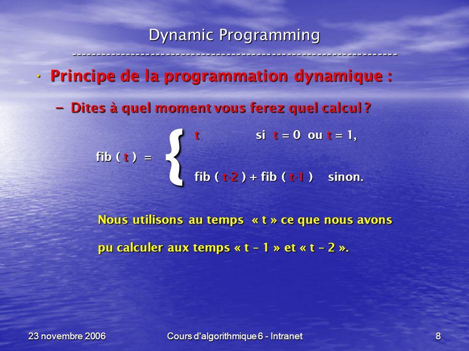 23 novembre 2006Cours d algorithmique 6 - Intranet79 Sac à dos --- Knapsack ----------------------------------------------------------------- {for ( R = 0 ; R <= C ; R++ ) Opt[ 0, R ] = 0 ; for ( t = 1 ; t <= n ; t++ ) for ( R = 0 ; R <= C ; R++ ) for ( R = C ; R >= 0 ; R-- ) if ( p[ t ] > R ) Opt[ t, R ] = Opt[ t-1, R ] ; else Opt[ t, R ] = max( b[ t ] + Opt[ t-1, R–p[ t ], Opt[ t-1, R ] ) ; } Initialisation de la première colonne à 0.