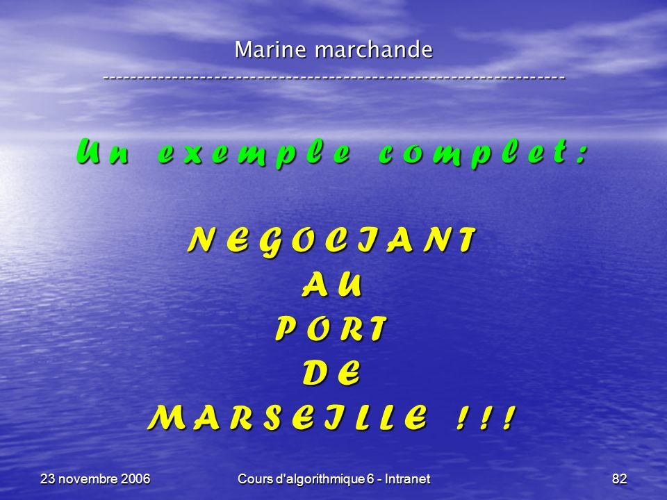 23 novembre 2006Cours d algorithmique 6 - Intranet82 U n e x e m p l e c o m p l e t : N E G O C I A N T A U P O R T D E M A R S E I L L E .
