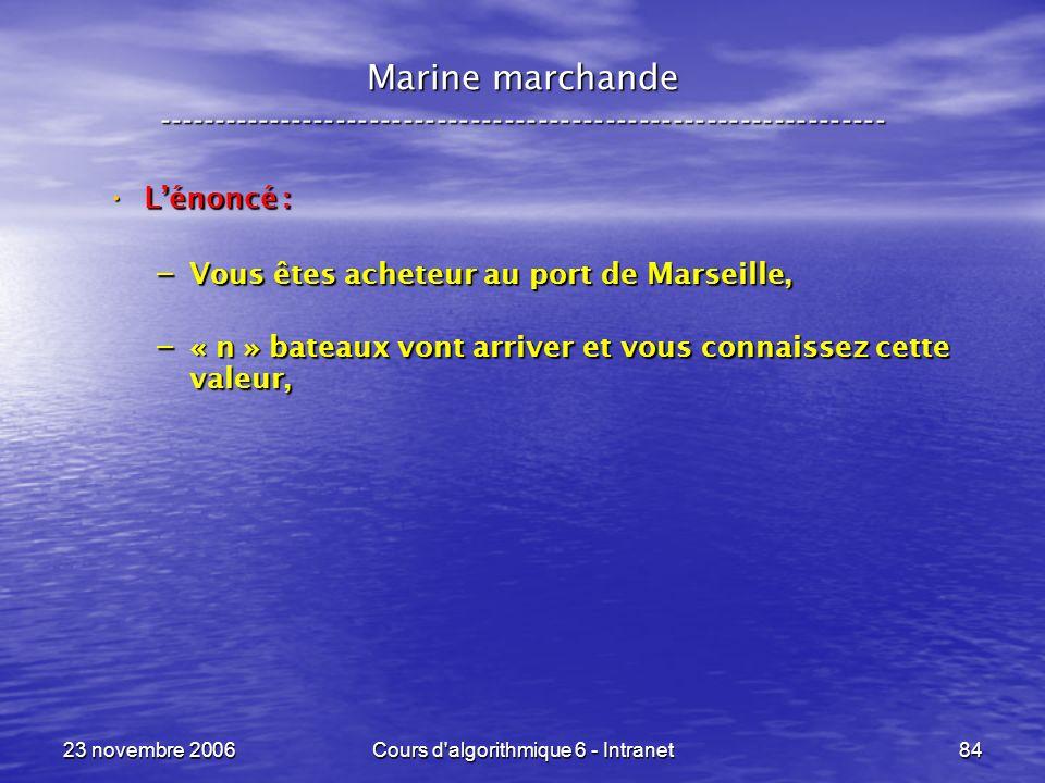 23 novembre 2006Cours d algorithmique 6 - Intranet84 Lénoncé : Lénoncé : – Vous êtes acheteur au port de Marseille, – « n » bateaux vont arriver et vous connaissez cette valeur, Marine marchande -----------------------------------------------------------------
