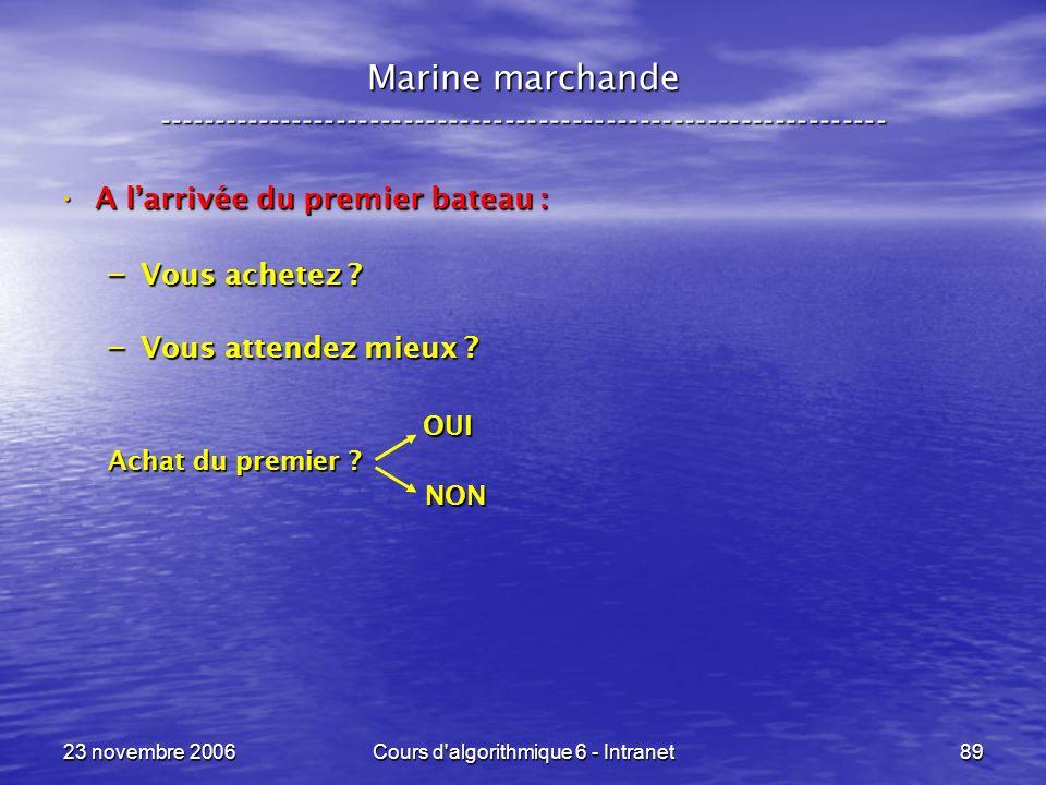 23 novembre 2006Cours d algorithmique 6 - Intranet89 A larrivée du premier bateau : A larrivée du premier bateau : – Vous achetez .
