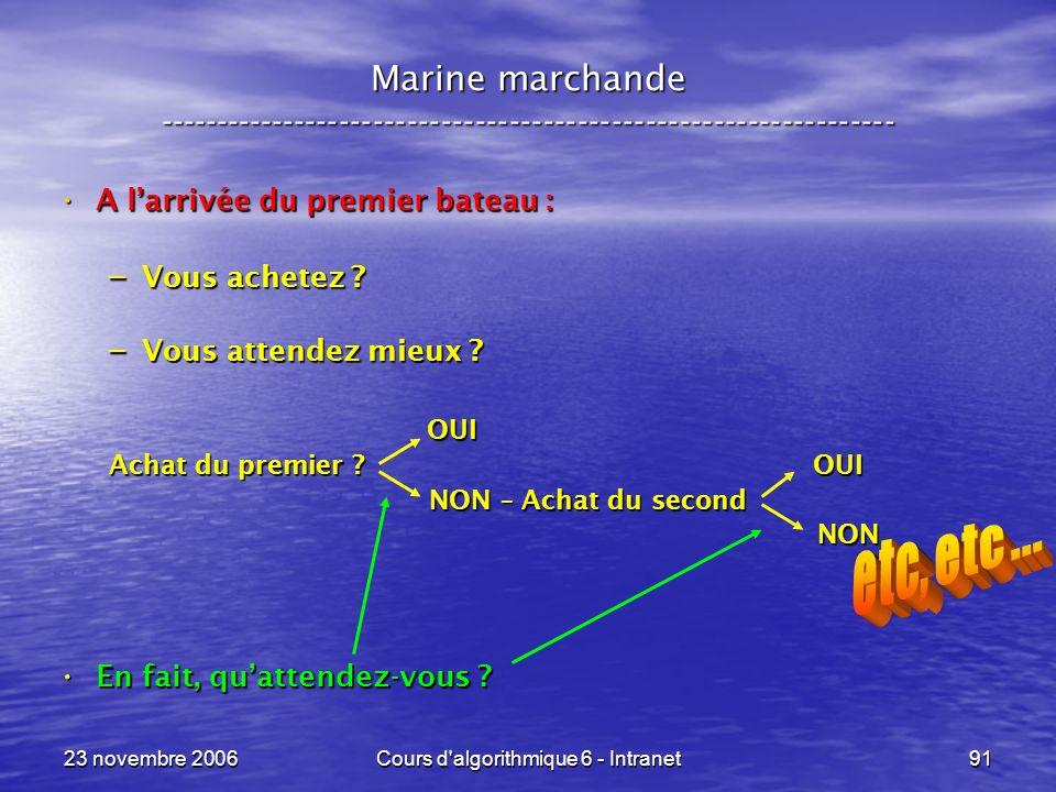 23 novembre 2006Cours d algorithmique 6 - Intranet91 A larrivée du premier bateau : A larrivée du premier bateau : – Vous achetez .