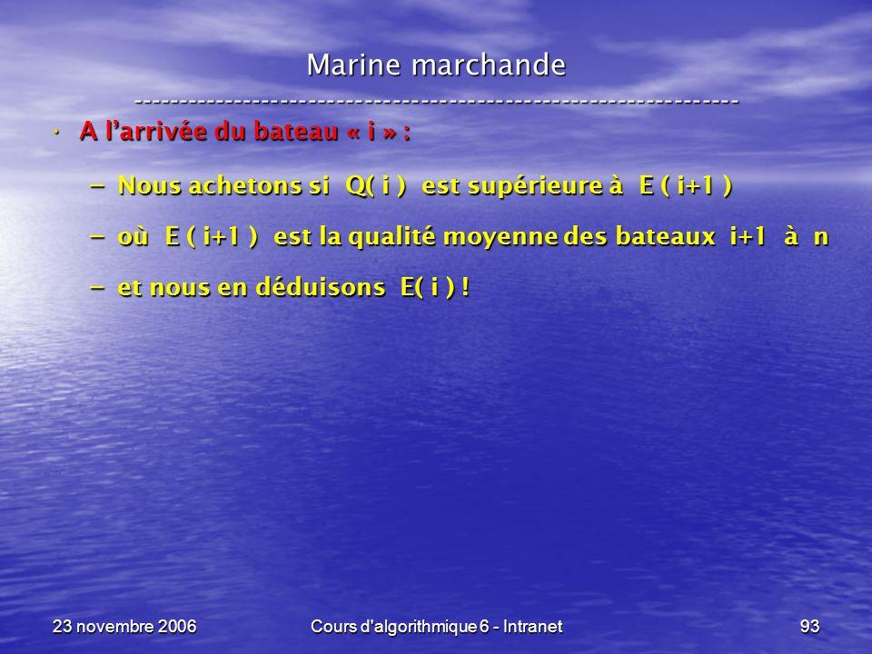23 novembre 2006Cours d algorithmique 6 - Intranet93 A larrivée du bateau « i » : A larrivée du bateau « i » : – Nous achetons si Q( i ) est supérieure à E ( i+1 ) – où E ( i+1 ) est la qualité moyenne des bateaux i+1 à n – et nous en déduisons E( i ) .