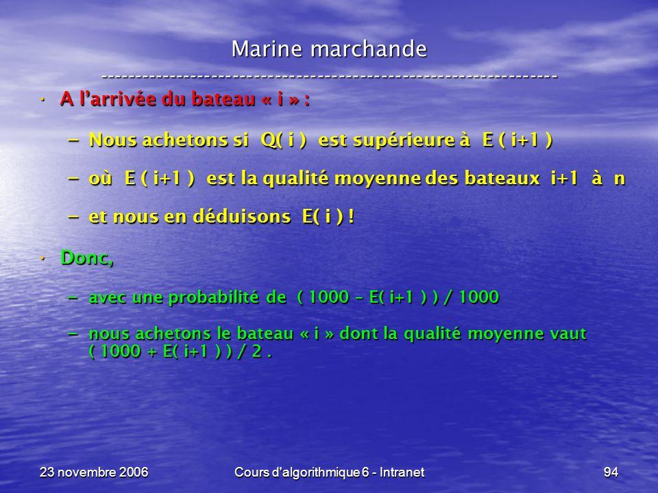 23 novembre 2006Cours d algorithmique 6 - Intranet94 A larrivée du bateau « i » : A larrivée du bateau « i » : – Nous achetons si Q( i ) est supérieure à E ( i+1 ) – où E ( i+1 ) est la qualité moyenne des bateaux i+1 à n – et nous en déduisons E( i ) .