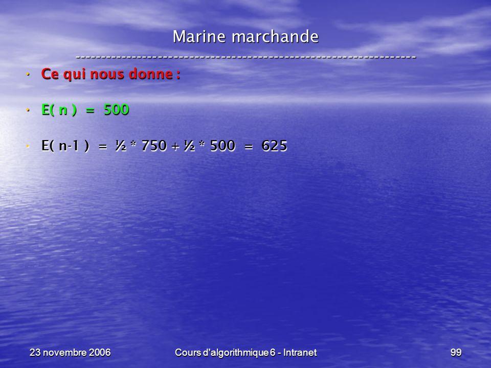 23 novembre 2006Cours d algorithmique 6 - Intranet99 Ce qui nous donne : Ce qui nous donne : E( n ) = 500 E( n ) = 500 E( n-1 ) = ½ * 750 + ½ * 500 = 625 E( n-1 ) = ½ * 750 + ½ * 500 = 625 Marine marchande -----------------------------------------------------------------