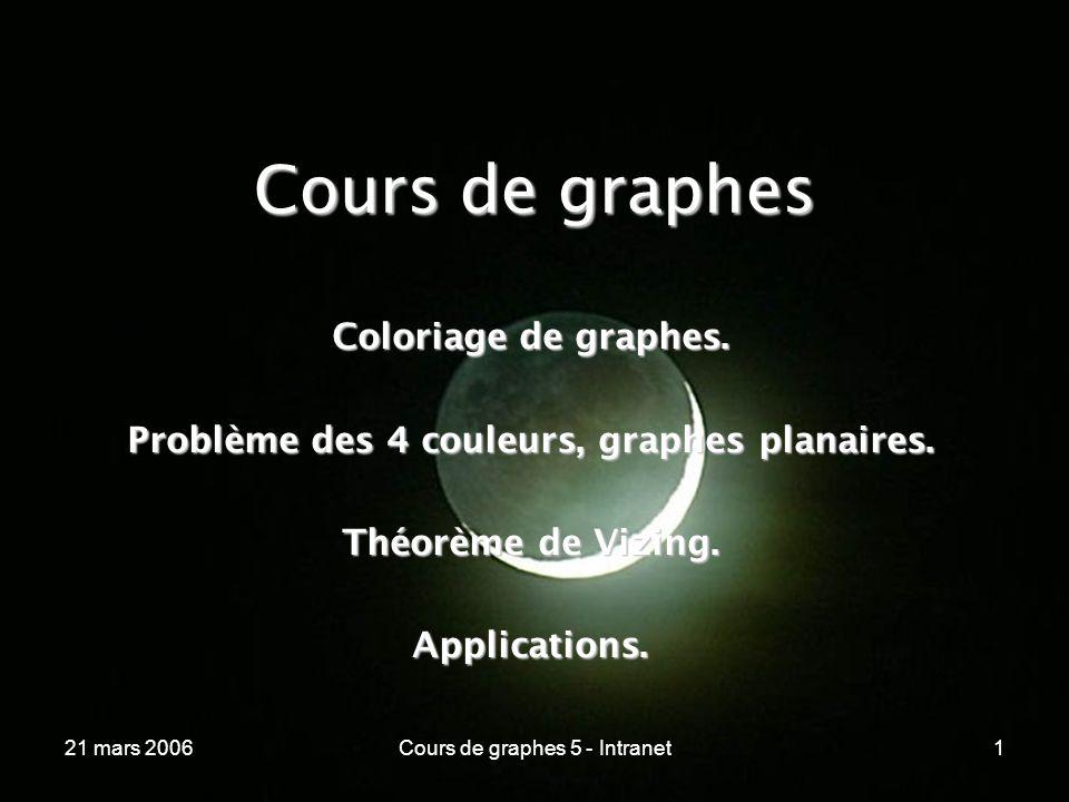 21 mars 2006Cours de graphes 5 - Intranet1 Cours de graphes Coloriage de graphes. Problème des 4 couleurs, graphes planaires. Théorème de Vizing. Appl