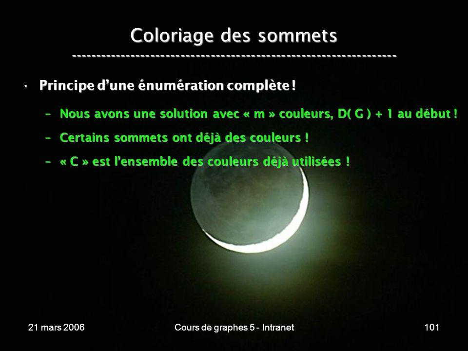 21 mars 2006Cours de graphes 5 - Intranet101 Coloriage des sommets ----------------------------------------------------------------- Principe dune énu