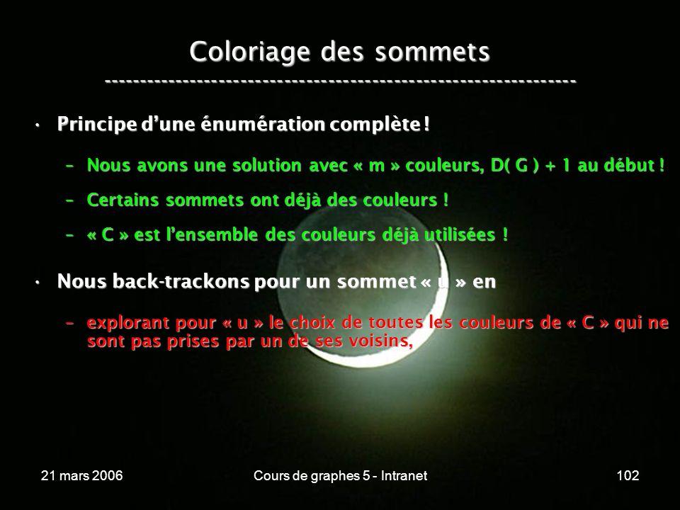 21 mars 2006Cours de graphes 5 - Intranet102 Coloriage des sommets ----------------------------------------------------------------- Principe dune énumération complète !Principe dune énumération complète .
