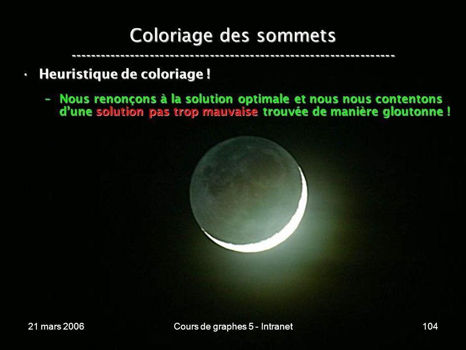 21 mars 2006Cours de graphes 5 - Intranet104 Coloriage des sommets ----------------------------------------------------------------- Heuristique de coloriage !Heuristique de coloriage .