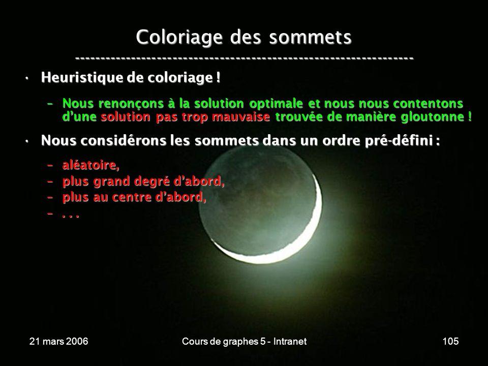 21 mars 2006Cours de graphes 5 - Intranet105 Coloriage des sommets ----------------------------------------------------------------- Heuristique de coloriage !Heuristique de coloriage .