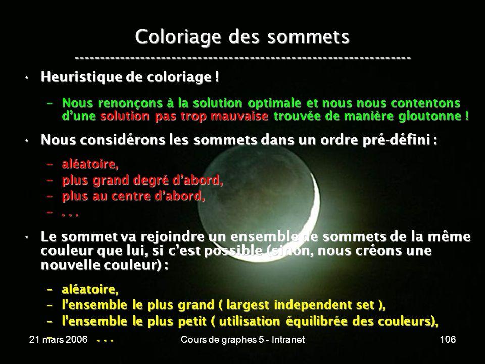 21 mars 2006Cours de graphes 5 - Intranet106 Coloriage des sommets ----------------------------------------------------------------- Heuristique de coloriage !Heuristique de coloriage .