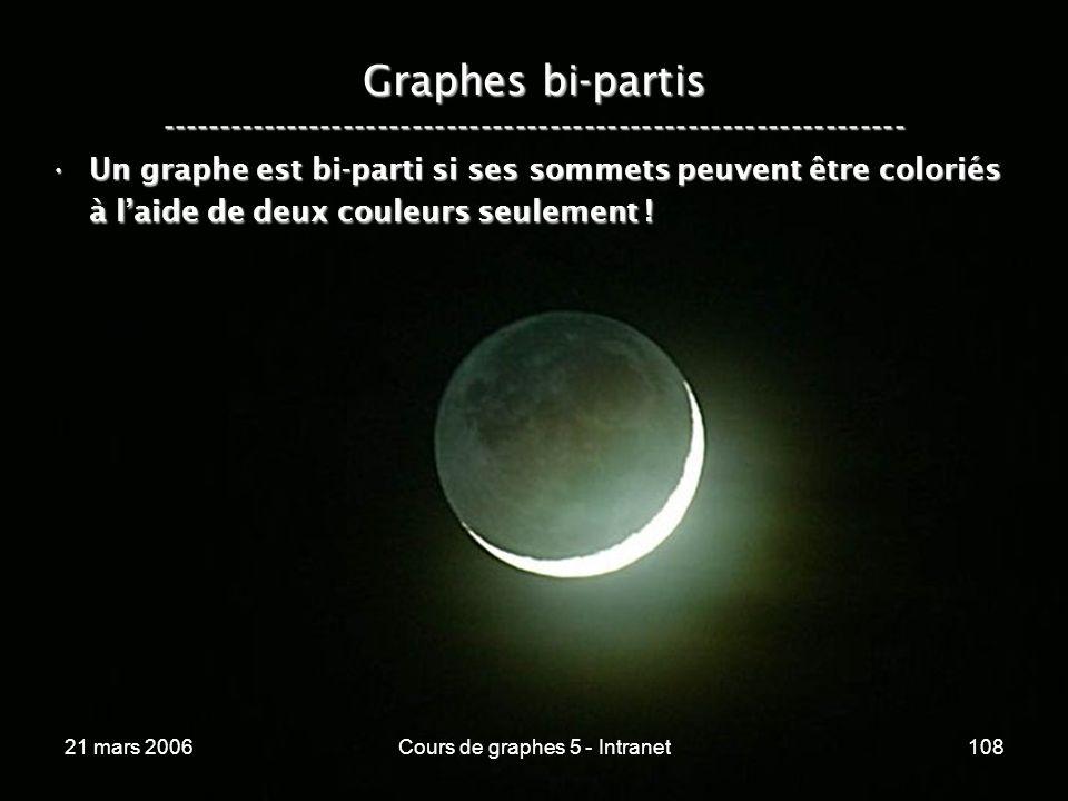 21 mars 2006Cours de graphes 5 - Intranet108 Graphes bi-partis ----------------------------------------------------------------- Un graphe est bi-parti si ses sommets peuvent être coloriés à laide de deux couleurs seulement !Un graphe est bi-parti si ses sommets peuvent être coloriés à laide de deux couleurs seulement !