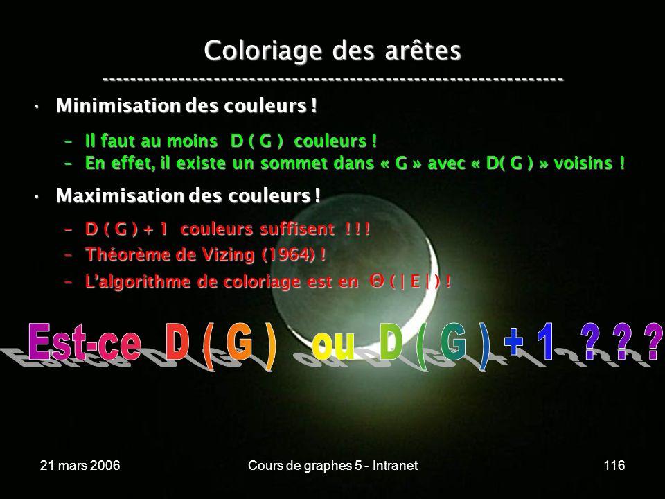 21 mars 2006Cours de graphes 5 - Intranet116 Coloriage des arêtes ----------------------------------------------------------------- Minimisation des couleurs !Minimisation des couleurs .