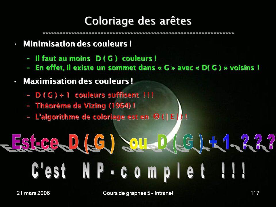 21 mars 2006Cours de graphes 5 - Intranet117 Coloriage des arêtes ----------------------------------------------------------------- Minimisation des couleurs !Minimisation des couleurs .