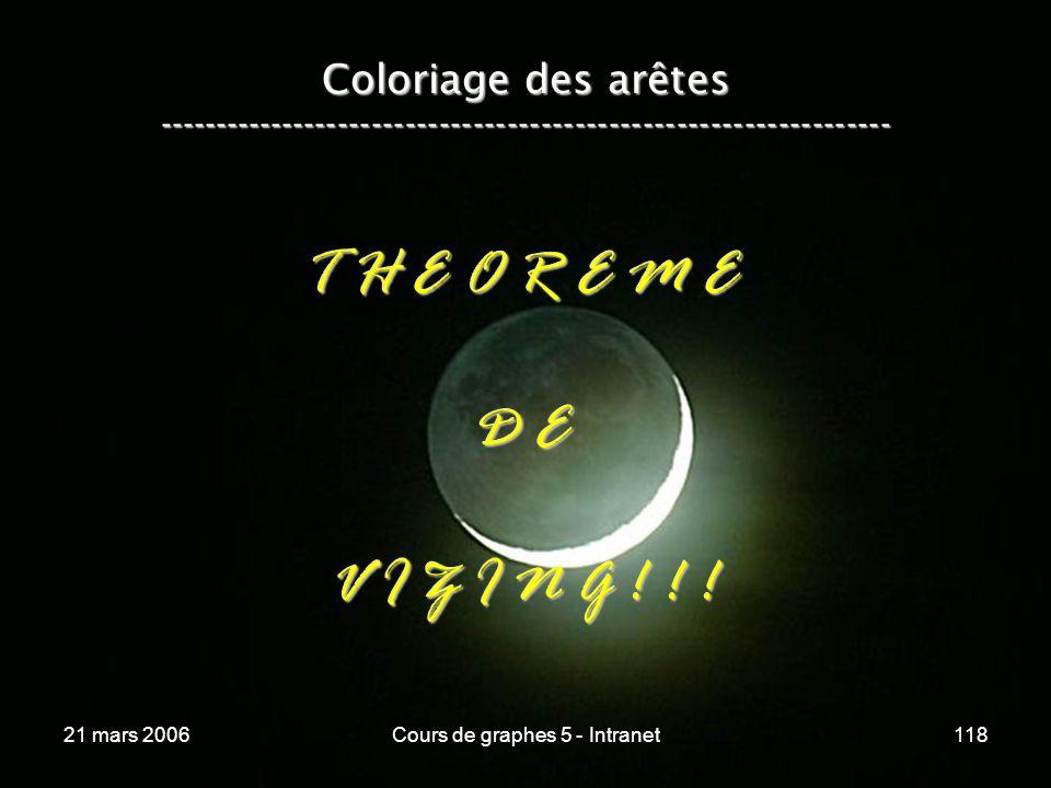 21 mars 2006Cours de graphes 5 - Intranet118 Coloriage des arêtes ----------------------------------------------------------------- T H E O R E M E D E V I Z I N G .