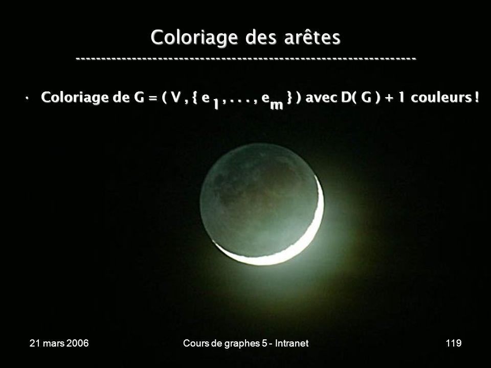 21 mars 2006Cours de graphes 5 - Intranet119 Coloriage des arêtes ----------------------------------------------------------------- Coloriage de G = ( V, { e,..., e } ) avec D( G ) + 1 couleurs !Coloriage de G = ( V, { e,..., e } ) avec D( G ) + 1 couleurs .