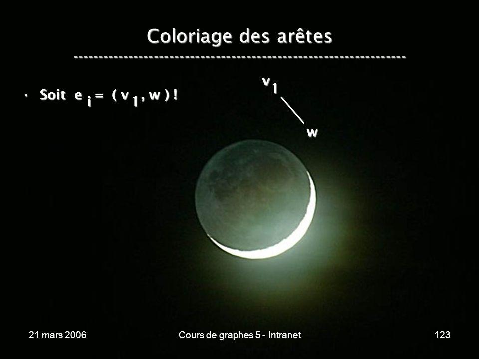 21 mars 2006Cours de graphes 5 - Intranet123 Coloriage des arêtes ----------------------------------------------------------------- Soit e = ( v, w )