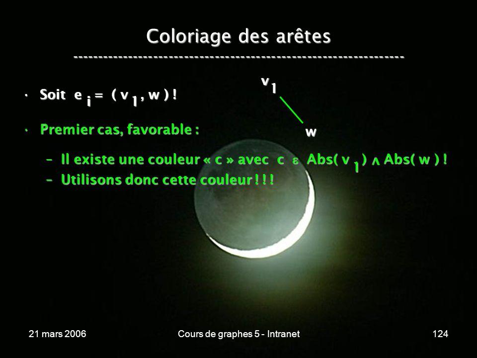 21 mars 2006Cours de graphes 5 - Intranet124 Coloriage des arêtes ----------------------------------------------------------------- Soit e = ( v, w )
