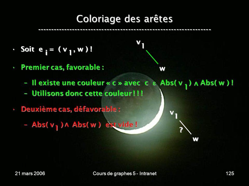 21 mars 2006Cours de graphes 5 - Intranet125 Coloriage des arêtes ----------------------------------------------------------------- Soit e = ( v, w )
