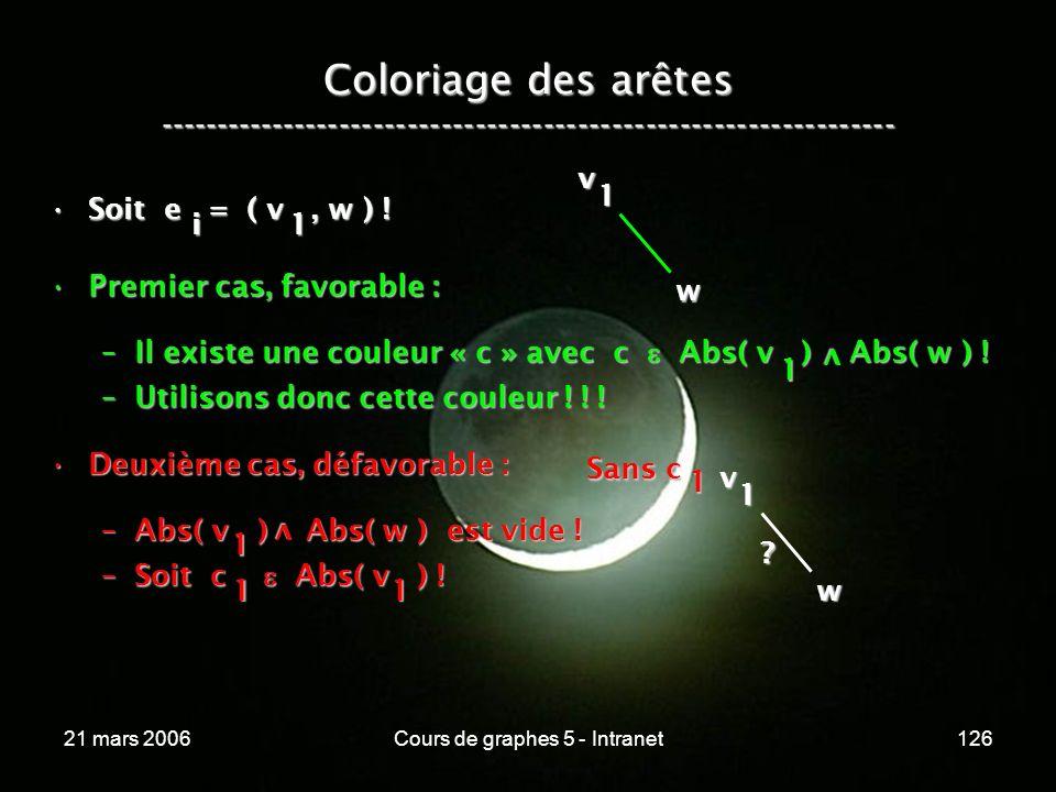 21 mars 2006Cours de graphes 5 - Intranet126 Coloriage des arêtes ----------------------------------------------------------------- Soit e = ( v, w )