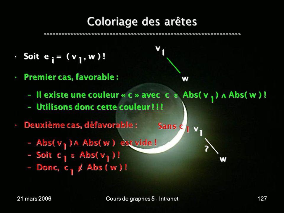 21 mars 2006Cours de graphes 5 - Intranet127 Coloriage des arêtes ----------------------------------------------------------------- Soit e = ( v, w )