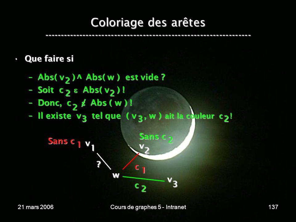 21 mars 2006Cours de graphes 5 - Intranet137 Coloriage des arêtes ----------------------------------------------------------------- Que faire siQue faire si –Abs( v ) Abs( w ) est vide .