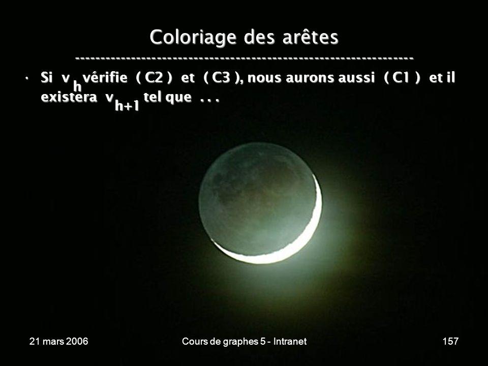 21 mars 2006Cours de graphes 5 - Intranet157 Coloriage des arêtes ----------------------------------------------------------------- Si v vérifie ( C2 ) et ( C3 ), nous aurons aussi ( C1 ) et il existera v tel que...Si v vérifie ( C2 ) et ( C3 ), nous aurons aussi ( C1 ) et il existera v tel que...
