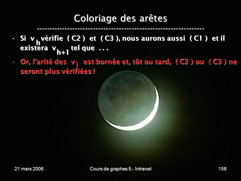 21 mars 2006Cours de graphes 5 - Intranet158 Coloriage des arêtes ----------------------------------------------------------------- Si v vérifie ( C2 ) et ( C3 ), nous aurons aussi ( C1 ) et il existera v tel que...Si v vérifie ( C2 ) et ( C3 ), nous aurons aussi ( C1 ) et il existera v tel que...