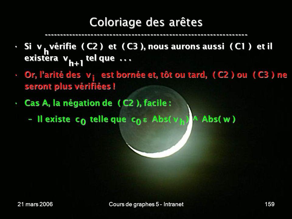 21 mars 2006Cours de graphes 5 - Intranet159 Coloriage des arêtes ----------------------------------------------------------------- Si v vérifie ( C2 ) et ( C3 ), nous aurons aussi ( C1 ) et il existera v tel que...Si v vérifie ( C2 ) et ( C3 ), nous aurons aussi ( C1 ) et il existera v tel que...