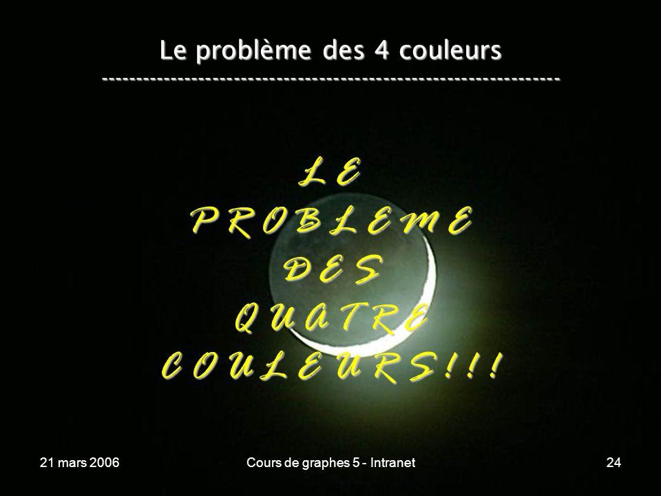 21 mars 2006Cours de graphes 5 - Intranet24 Le problème des 4 couleurs ----------------------------------------------------------------- L E P R O B L E M E D E S Q U A T R E C O U L E U R S .
