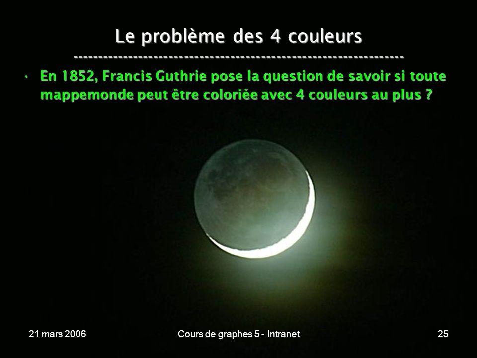 21 mars 2006Cours de graphes 5 - Intranet25 Le problème des 4 couleurs ----------------------------------------------------------------- En 1852, Francis Guthrie pose la question de savoir si toute mappemonde peut être coloriée avec 4 couleurs au plus ?En 1852, Francis Guthrie pose la question de savoir si toute mappemonde peut être coloriée avec 4 couleurs au plus ?