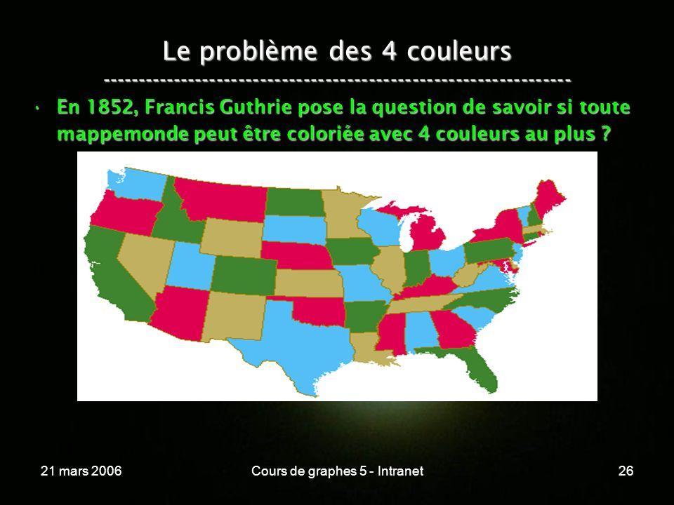 21 mars 2006Cours de graphes 5 - Intranet26 Le problème des 4 couleurs ----------------------------------------------------------------- En 1852, Francis Guthrie pose la question de savoir si toute mappemonde peut être coloriée avec 4 couleurs au plus ?En 1852, Francis Guthrie pose la question de savoir si toute mappemonde peut être coloriée avec 4 couleurs au plus ?