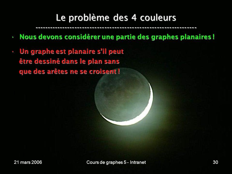 21 mars 2006Cours de graphes 5 - Intranet30 Le problème des 4 couleurs ----------------------------------------------------------------- Nous devons considérer une partie des graphes planaires !Nous devons considérer une partie des graphes planaires .