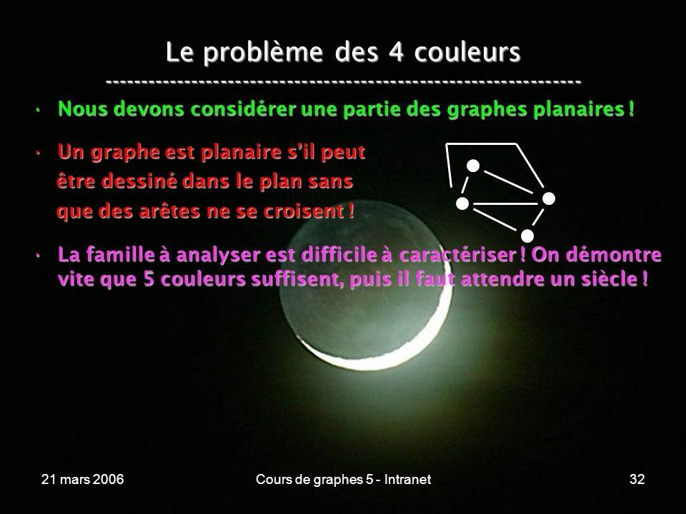 21 mars 2006Cours de graphes 5 - Intranet32 Le problème des 4 couleurs ----------------------------------------------------------------- Nous devons considérer une partie des graphes planaires !Nous devons considérer une partie des graphes planaires .
