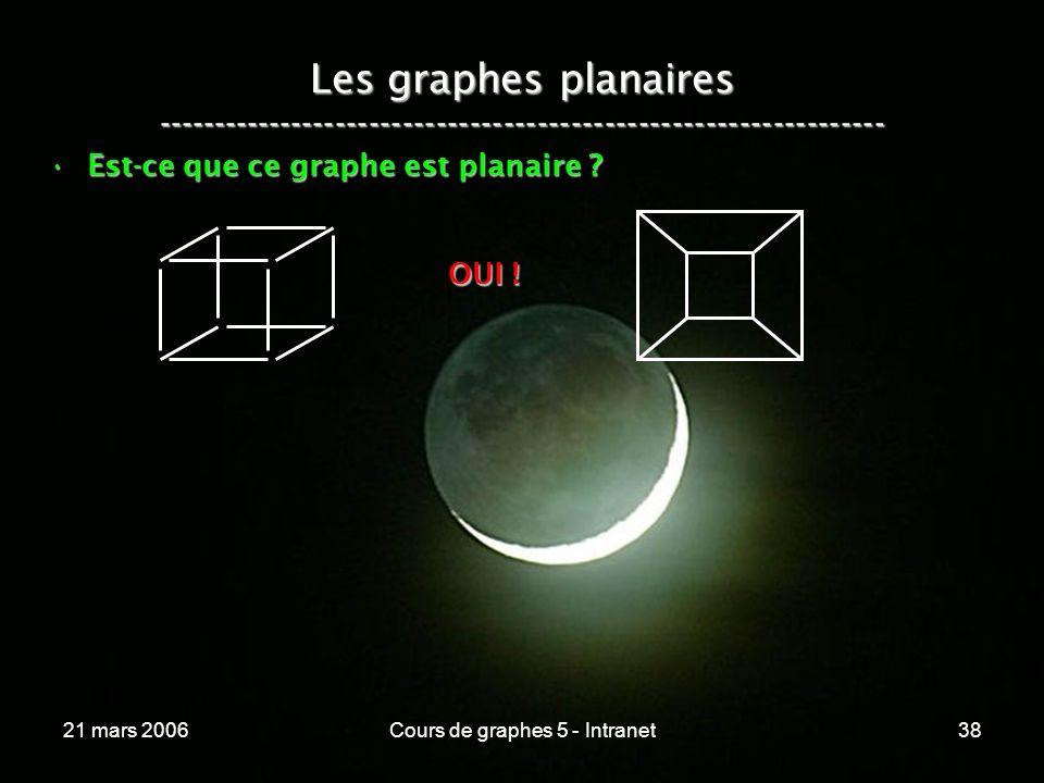 21 mars 2006Cours de graphes 5 - Intranet38 Les graphes planaires ----------------------------------------------------------------- Est-ce que ce graphe est planaire ?Est-ce que ce graphe est planaire .