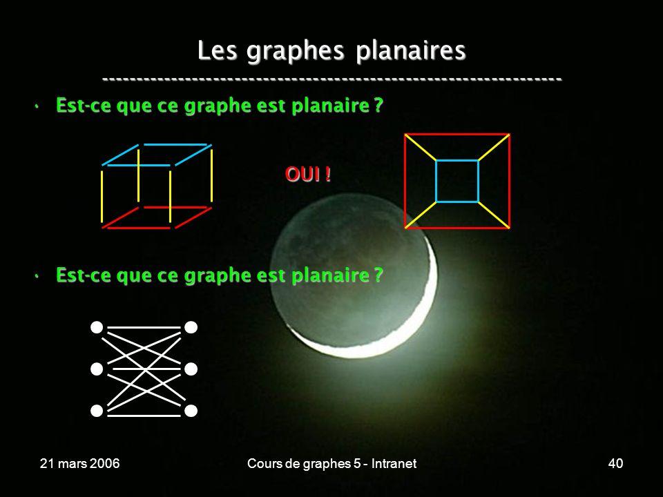 21 mars 2006Cours de graphes 5 - Intranet40 Les graphes planaires ----------------------------------------------------------------- Est-ce que ce graphe est planaire ?Est-ce que ce graphe est planaire .