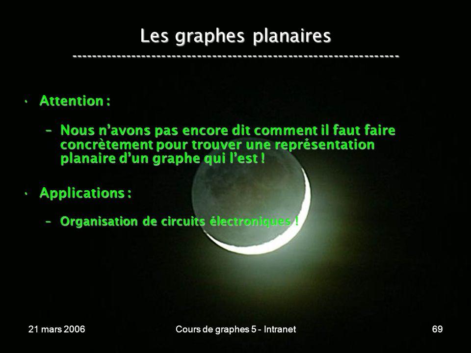 21 mars 2006Cours de graphes 5 - Intranet69 Les graphes planaires ----------------------------------------------------------------- Attention :Attention : –Nous navons pas encore dit comment il faut faire concrètement pour trouver une représentation planaire dun graphe qui lest .