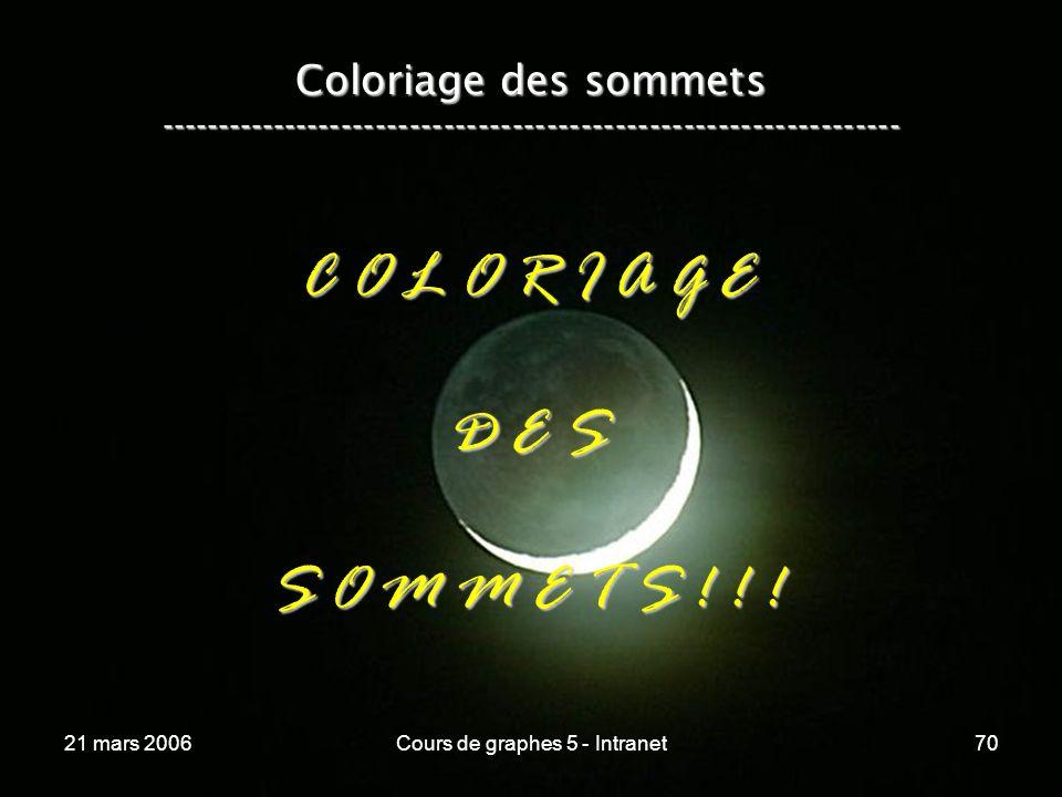 21 mars 2006Cours de graphes 5 - Intranet70 Coloriage des sommets ----------------------------------------------------------------- C O L O R I A G E