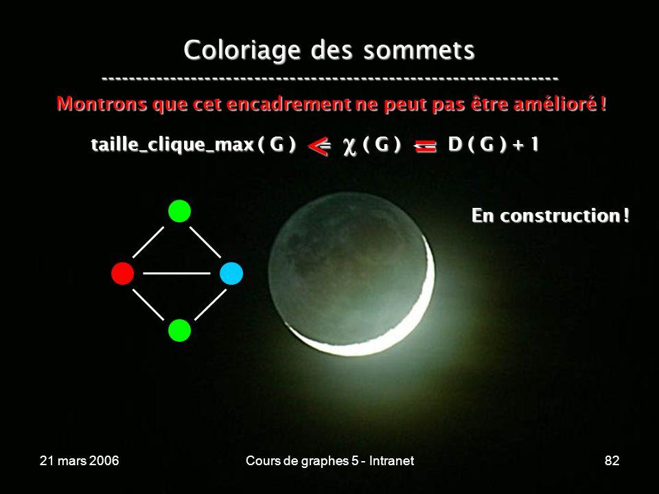 21 mars 2006Cours de graphes 5 - Intranet82 Coloriage des sommets ----------------------------------------------------------------- taille_clique_max ( G ) <= ( G ) <= D ( G ) + 1 Montrons que cet encadrement ne peut pas être amélioré .
