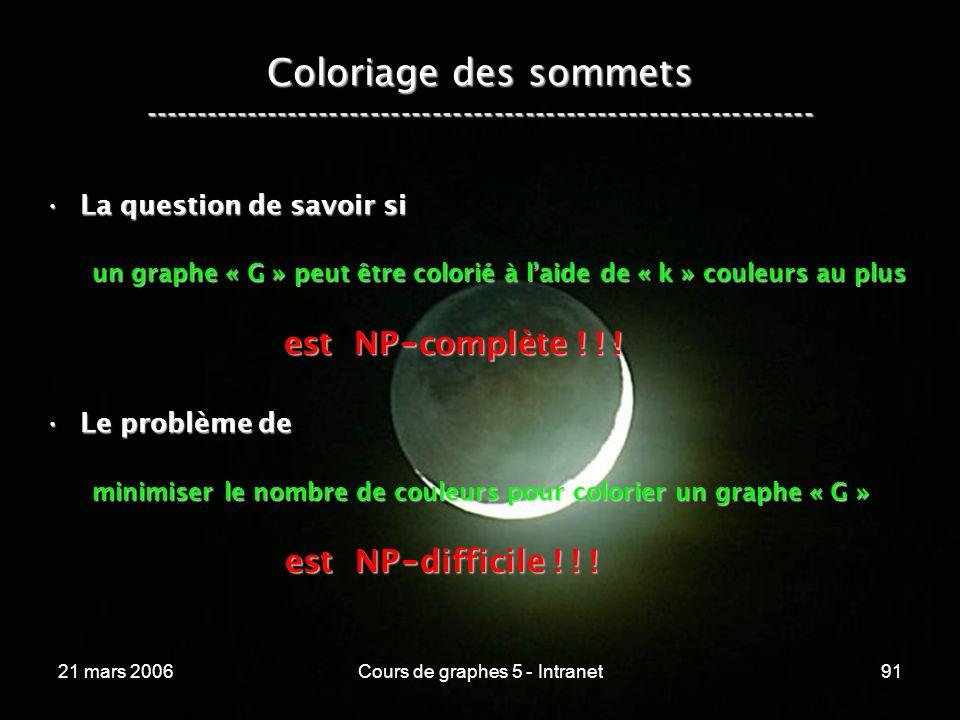 21 mars 2006Cours de graphes 5 - Intranet91 Coloriage des sommets ----------------------------------------------------------------- La question de savoir siLa question de savoir si un graphe « G » peut être colorié à laide de « k » couleurs au plus est NP - complète .