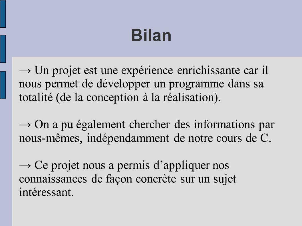 Bilan Un projet est une expérience enrichissante car il nous permet de développer un programme dans sa totalité (de la conception à la réalisation). O
