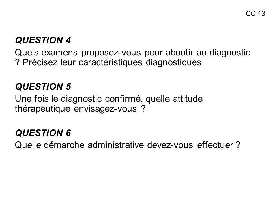 QUESTION 4 Quels examens proposez-vous pour aboutir au diagnostic ? Précisez leur caractéristiques diagnostiques QUESTION 5 Une fois le diagnostic con