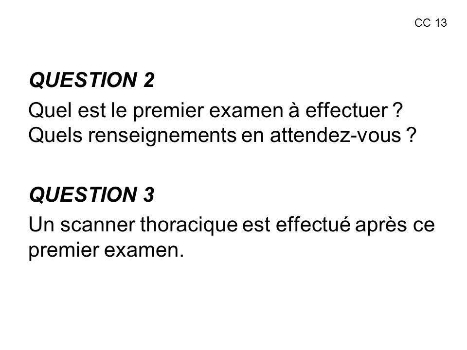 QUESTION 2 Quel est le premier examen à effectuer ? Quels renseignements en attendez-vous ? QUESTION 3 Un scanner thoracique est effectué après ce pre