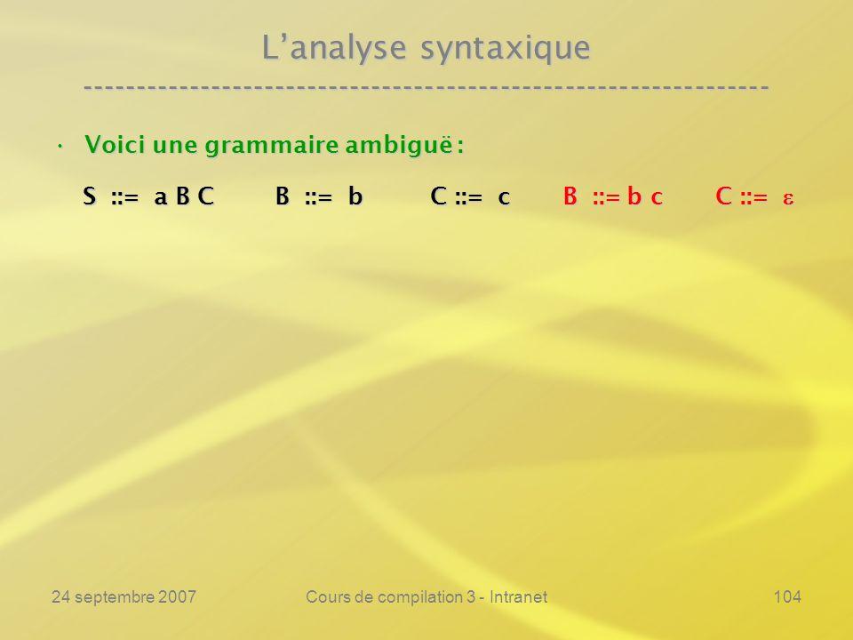 24 septembre 2007Cours de compilation 3 - Intranet104 Lanalyse syntaxique ---------------------------------------------------------------- Voici une g