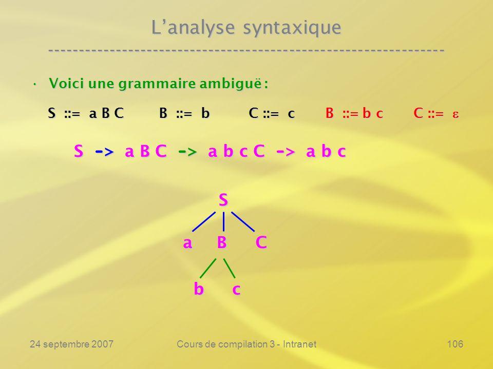 24 septembre 2007Cours de compilation 3 - Intranet106 Lanalyse syntaxique ---------------------------------------------------------------- Voici une g