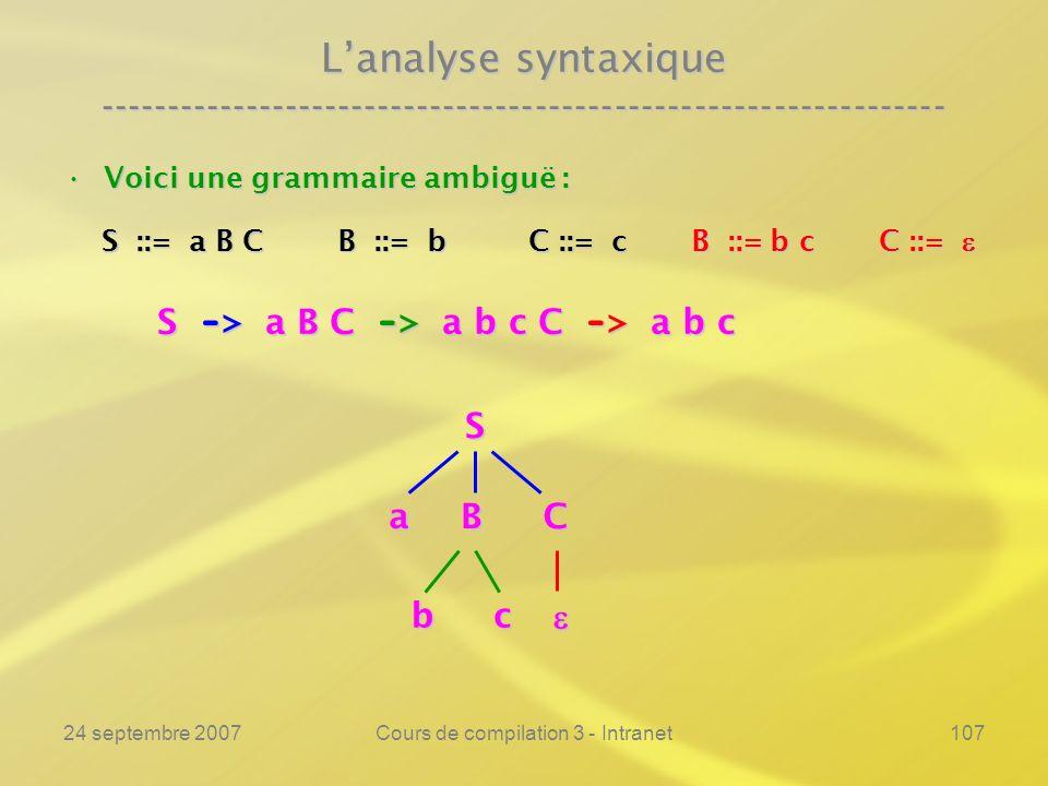 24 septembre 2007Cours de compilation 3 - Intranet107 Lanalyse syntaxique ---------------------------------------------------------------- Voici une g
