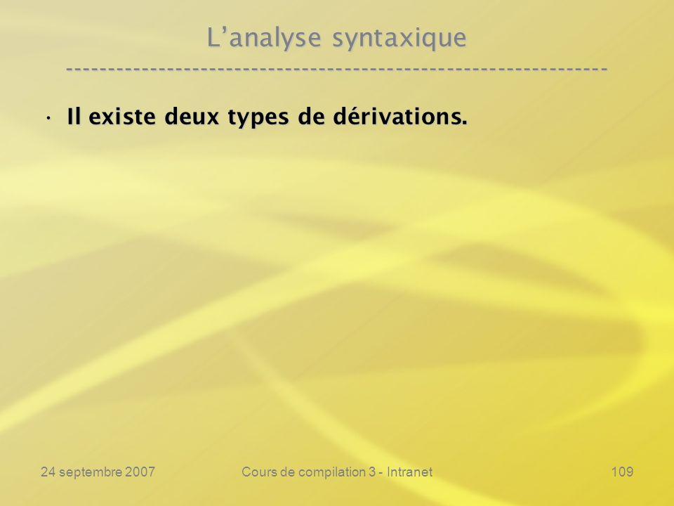 24 septembre 2007Cours de compilation 3 - Intranet109 Lanalyse syntaxique ---------------------------------------------------------------- Il existe d