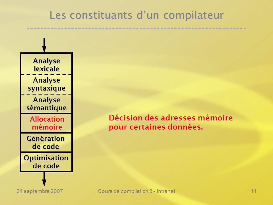 24 septembre 2007Cours de compilation 3 - Intranet11 Les constituants dun compilateur ----------------------------------------------------------------
