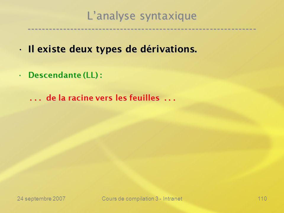 24 septembre 2007Cours de compilation 3 - Intranet110 Lanalyse syntaxique ---------------------------------------------------------------- Il existe d