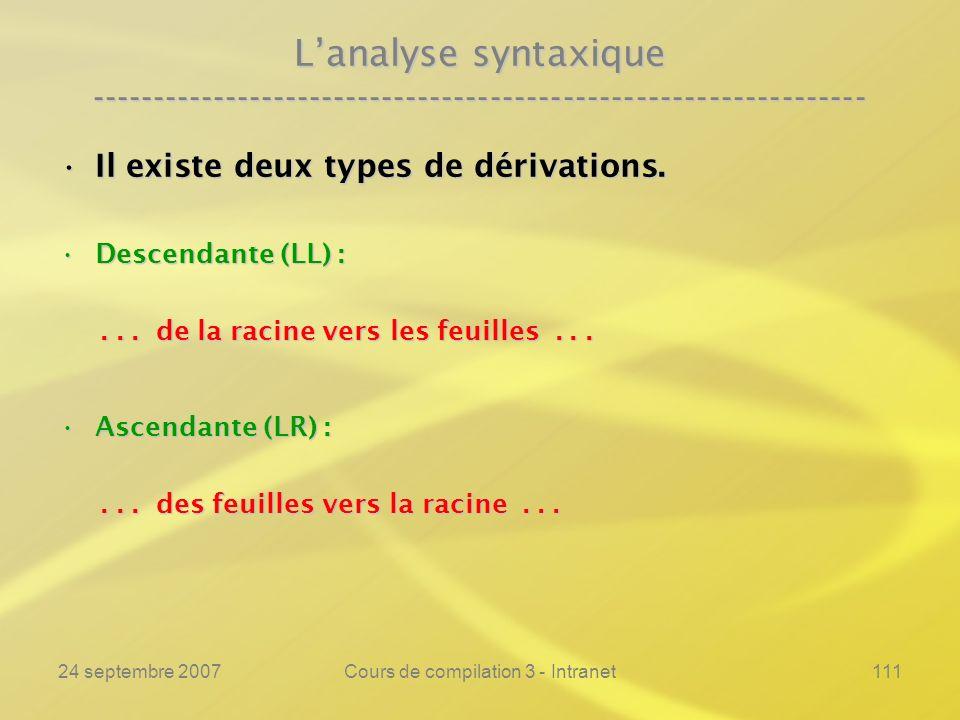 24 septembre 2007Cours de compilation 3 - Intranet111 Lanalyse syntaxique ---------------------------------------------------------------- Il existe d